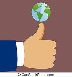 global, concept, pouces haut