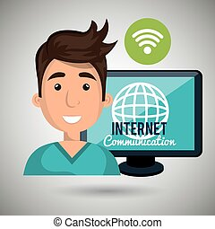 global, connecté, homme, internet