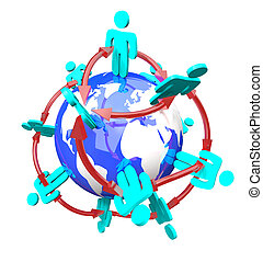global, connecté, réseau, gens