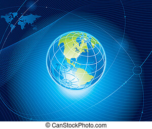 Global Connect - Global communication connection background...