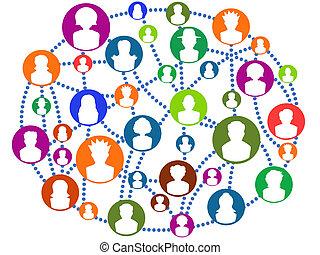 global, connecter, réseau, gens