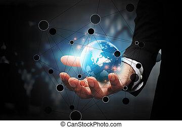 global, connection., negócio