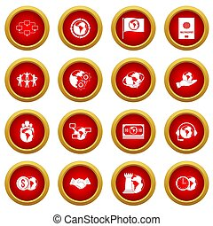 Global connections icon red circle set