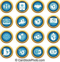 Global connections icons blue circle set