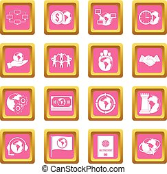 Global connections icons pink