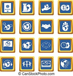 Global connections icons set blue
