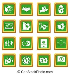 Global connections icons set green