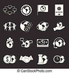 Global connections icons set grey vector