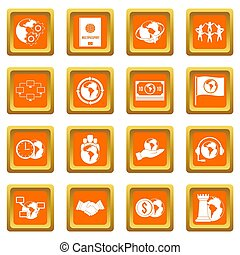 Global connections icons set orange
