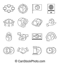 Global connections icons set, outline style