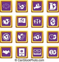 Global connections icons set purple