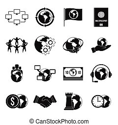 Global connections icons set, simple style