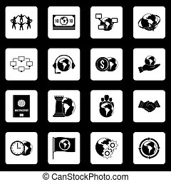 Global connections icons set squares vector