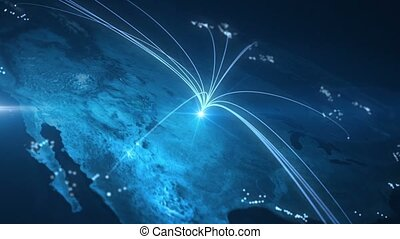 Global Connections - Lines connecting countries all over the...