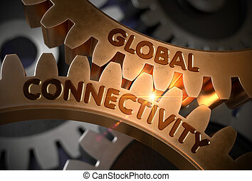 Global Connectivity on the Golden Gears. 3D Illustration.