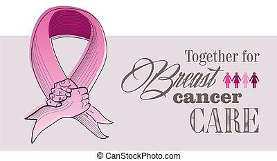 global, consciência câncer peito, conceito, ilustração,...
