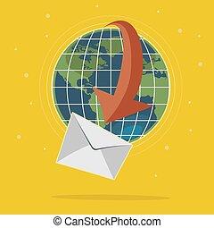global, correio, conceito