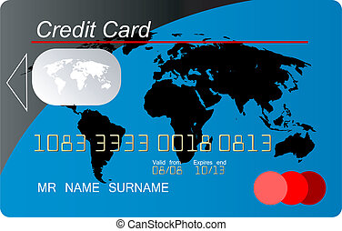 global, crédit, vecteur, carte