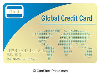 Global credit card, vector