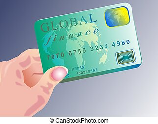 Global credit card illustration. This is a made up card design.