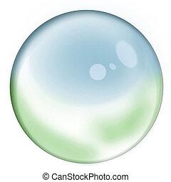 Global Crystal Sphere - Empty glass blue green sphere...