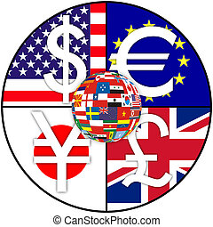 global currencies - Global currencies in a circle with a...