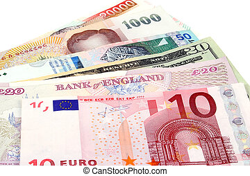 A collection of foreign currencies including Euros, American Dollars, British Pounds, Thai Baht, Malaysian Ringit