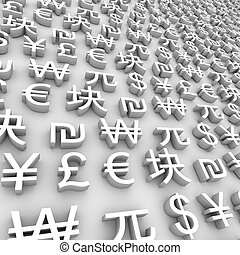 A series of global currency symbols on grey background