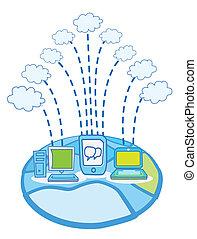 Global Data cloud computing vector