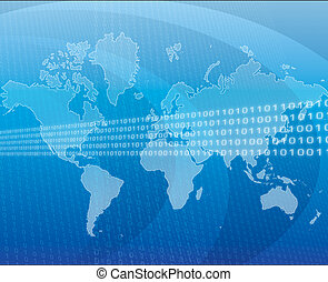 Global data - Data transfer over a map of the world