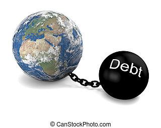Global debt - Concept of Earth imprisoned by big heavy debt