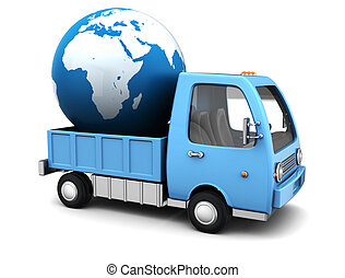 global delivery - 3d illustration oftruck with earth globe,...