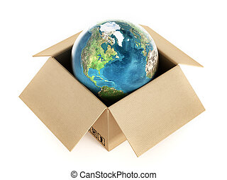 Global delivery - Blue globe standing inside the cardboard...