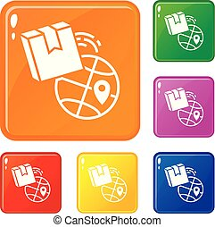 Global delivery box icons set vector color