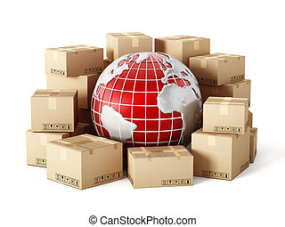 Global delivery - Cargo boxes around the globe isolated on...