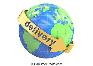 Global delivery concept, 3D rendering isolated on white...