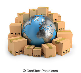 global delivery - Globe surrounded by cardboard boxes. 3d...