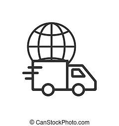 Global delivery icon. Vector illustration, flat design. -...