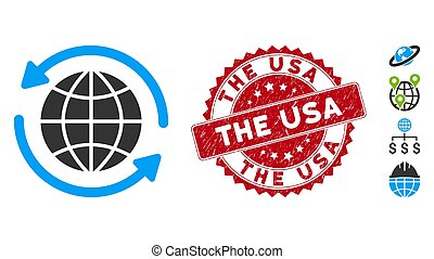 Global Delivery Icon with Scratched The USA Stamp