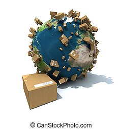 Global delivery - The Earth covered with brown carboard...