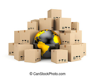 Global delivery - Transportation and shipping. Isolated on ...