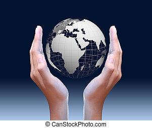 global, deux, tenant mains