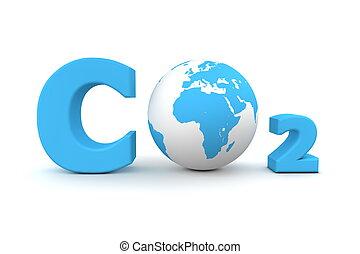 global, dióxido carbono, co2, -, azul