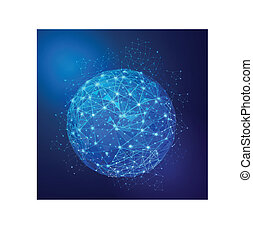 Global Digital mesh network, vector  illustration