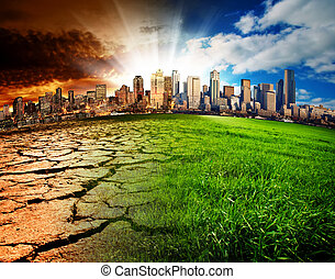 Global Disaster - A city showing the effect of Climate...