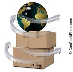 Global distribution - Earth globe on top of brown cardboard...