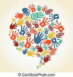 Diversity multi-ethnic hand prints in social speech bubble shape. Vector file layered for easy manipulation and custom coloring.