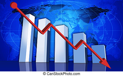 Global downturn - 3d rendered graph depicting financial...