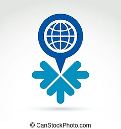 Global earth with arrows pointing into center icon, vector conce