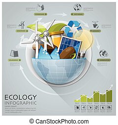 Global Ecology And Energy Infographic With Round Circle...